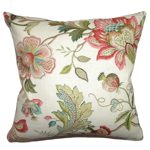 Adele Crewels Feather Filled Throw Pillow