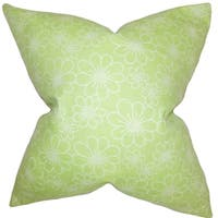 Hagar Floral Feather Filled  Green White 18-inch Throw Pillow