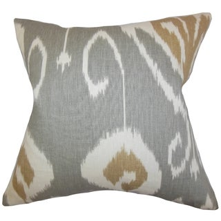 Cleon Grey Ikat 18-inch Feather Filled Throw Pillow
