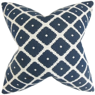 Fallon Blue Geometric 18-inch Feather Filled Throw Pillow