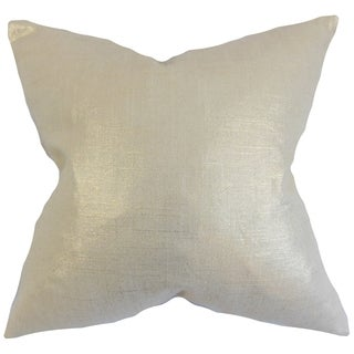 Florin Antique Gold Solid 18-inch Feather Filled Throw Pillow