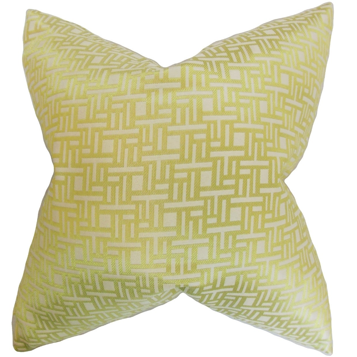 Daphnis Keylime Geometric Feather Filled Throw Pillow (20-Inch - Green)