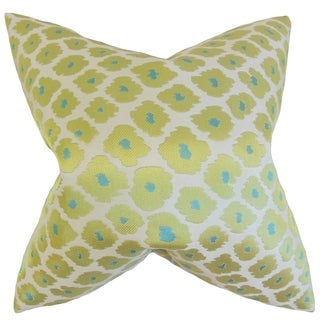 Ajamu Lime Geometric Feather Filled Throw Pillow