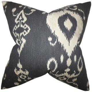 Katti Black Ikat Feather Filled Throw Pillow