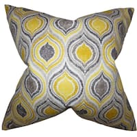 Xylon Yellow Geometric Feather Filled Throw Pillow