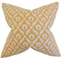 Alzbet Geometric Feather Filled Cinnamon Throw Pillow