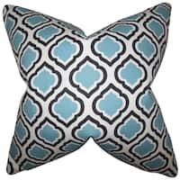 Abijah Blue Geometric Feather Filled Throw Pillow