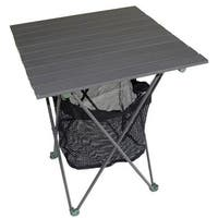 Aluminum Roll Slat Grey 27.25-inch Table with Storage