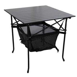 Aluminum Roll Slat Graphite Grey 27.25-inch Table with Storage