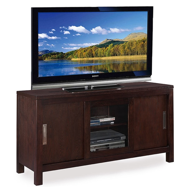 shop chocolate 50 inch sliding door tv console free shipping today overstock 9558198. Black Bedroom Furniture Sets. Home Design Ideas