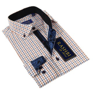 Rashbi Men's Orange Dress Shirt