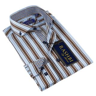 Rashbi Men's Blue and Brown Striped Dress Shirt