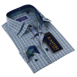 Rashbi Men's Long Sleeve Blue Dress Shirt
