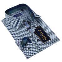 Rashbi Men's Long Sleeve Blue Dress Shirt