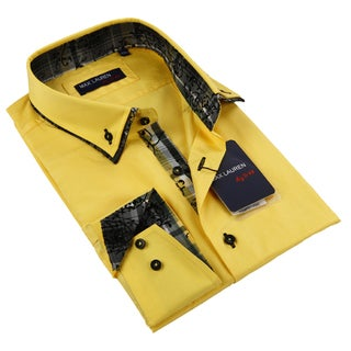 Max Lauren Men's Yellow Long Sleeve Dress Shirt