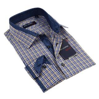 Max Lauren Men's Long Sleeve Blue Dress Shirt