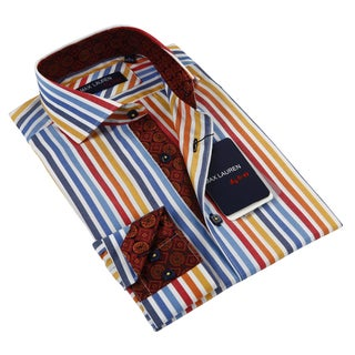 Max Lauren Men's Multicolor Stripe Long Sleeve Dress Shirt