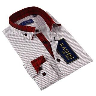 Rashbi Men's Red Check Dress Shirt