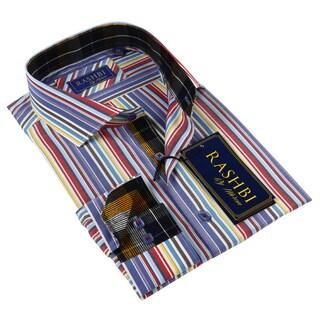 Rashbi Men's Multicolor Long Sleeve Dress Shirt (2 options available)