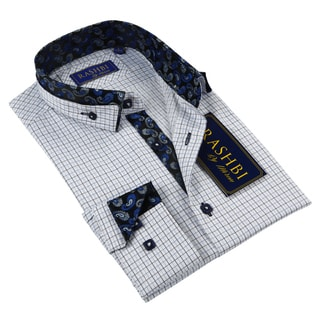 Rashbi Men's Blue Long Sleeve Dress Shirt