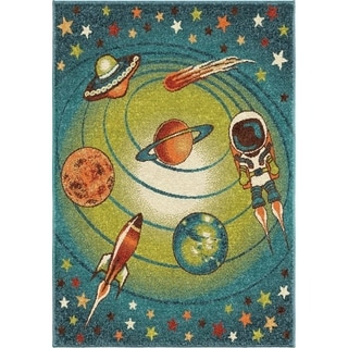 Innocence Collection Spacewalk Blue Area Rug (3'11 x 5'5)