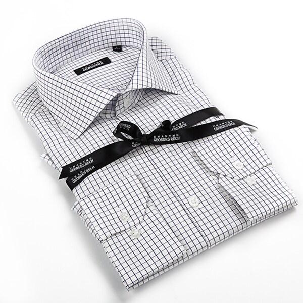 George Rech Men's Grey Button Down Fashion Shirt