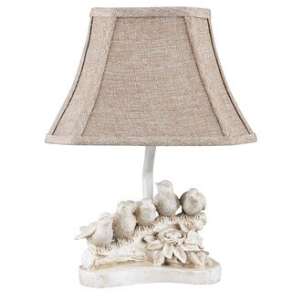 Somette Distressed White 'Bird Chorus' Accent Lamp