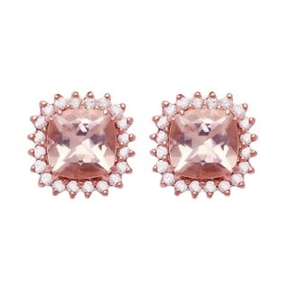 Beverly Hills Charm 10k Rose Gold Morganite and 1/7ct TDW Halo Stud Earrings (H-I, I2-I3)