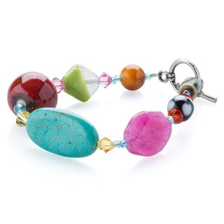 Kele& Co's .925 Sterling Silver Colorful Glass Bead and Crystal Bracelet