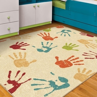 Carolina Weavers Playroom Collection Colored High-Five Beige Area Rug (3'10 x 5'2)