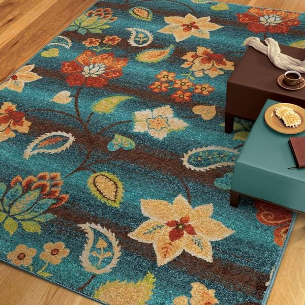 Carolina Weavers Vibrance Collection Swanky Floral Aqua
