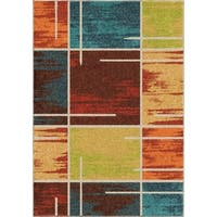Carolina Weavers Brighton Collection Rainbow Square Multi Area Rug (5'3 x 7'6)