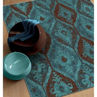 "Carolina Weavers Melodic Collection Magestically Aqua Area Rug - 5'3"" x 7'6"""