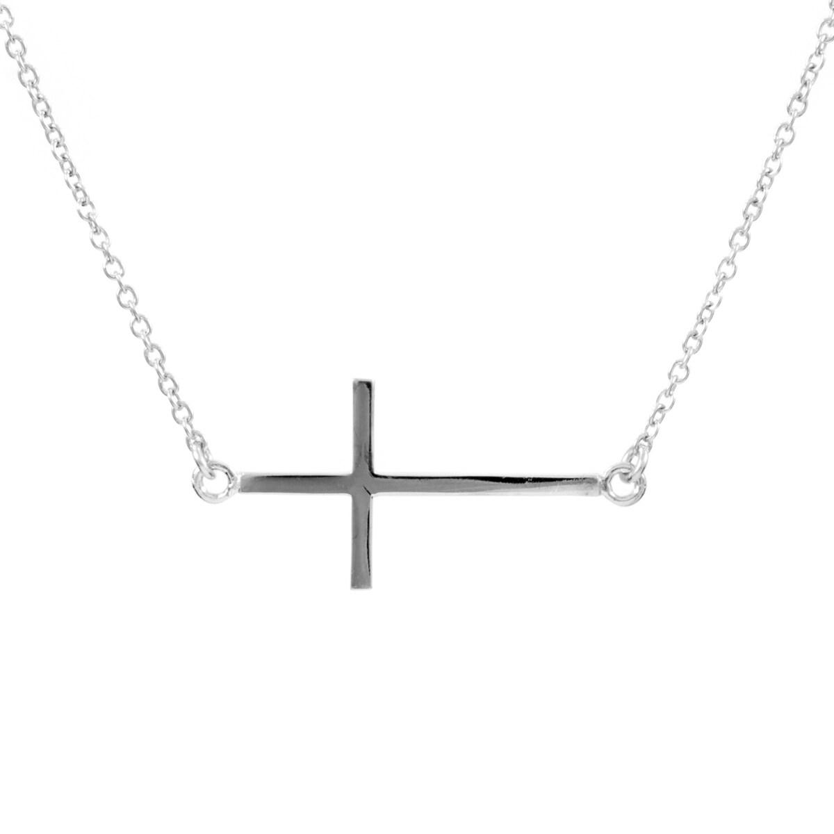 Emitations Cubic Zirconia Sideways Cross Necklace (19 Inc...