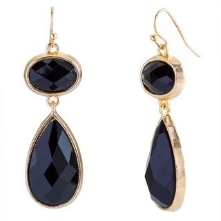 Kele & Co Goldtone Metal Black Faceted Fashion Earrings