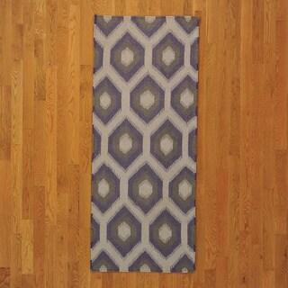 Durie Kilim Flat Weave Hand-woven Wool Rug (2'5 x 6'1)