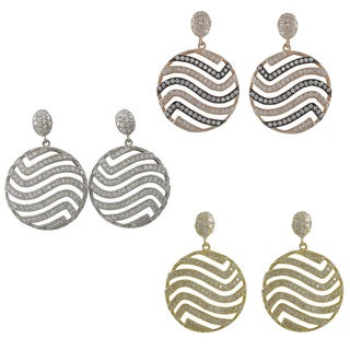 Luxiro Sterling Silver Cubic Zirconia Wave Cut-out Round Circle Dangle Earrings