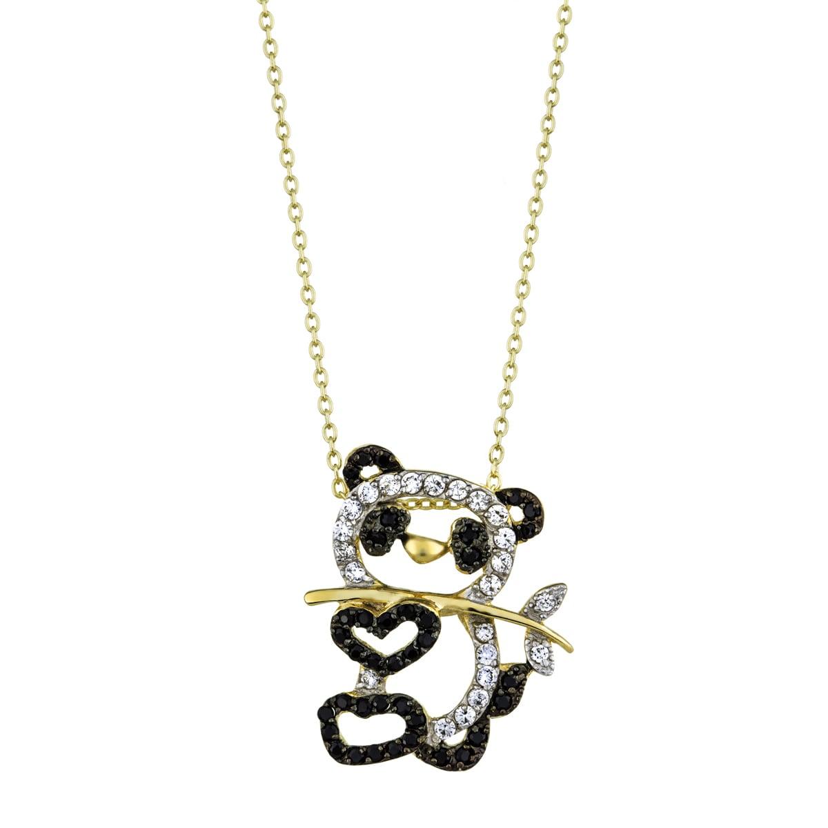 Cubic Zirconia Panda Pendant Necklace (White), Women's, S...