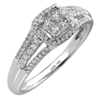10k White Gold 1/2ct TDW White Diamond Engagement Ring