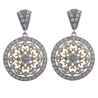 Luxiro Sterling Silver Cubic Zirconia Filigree Celtic Circle Medallion Earrings