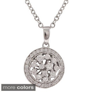 Luxiro Sterling Silver Gold Finish Cubic Zirconia Round Medallion Necklace Pendant