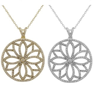 Luxiro Sterling Silver Cubic Zirconia Filigree Flower Circle Pendant Necklace