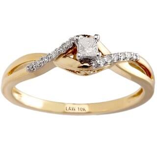 10k Yellow Gold 1/5ct TDW Diamond Promise Ring (H-I, SI1-SI2)