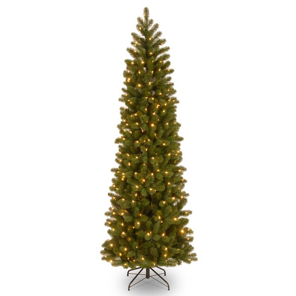 Feel-Real' Down Swept Douglas Fir Pencil Slim Hinged 7.5-foot Tree with 350 Clear Lights - 7.5'