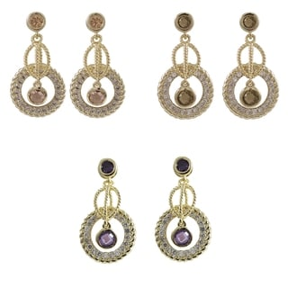 Luxiro Gold Finish Colored Cubic Zirconia Braided Circle Drop Earrings
