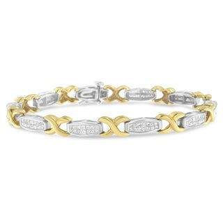 14k Two-tone Gold 2ct TDW Princess-cut Diamond 'X' Bracelet (H-I, I1-I2)