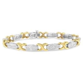 14K Two-Tone Gold 2 ct. TDW Princess Cut Diamond X-Link Bracelet (H-I, SI2-I1)