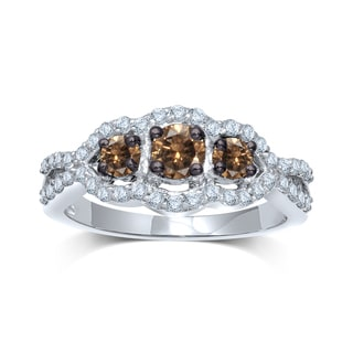 Unending Love 10k White Gold 1/2ct TDW 3-stone Diamond Ring (I-J, I1-I2)
