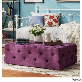 SIGNAL HILLS Traditional Knightsbridge Rectangular Tufted Cocktail Ottoman with Casters