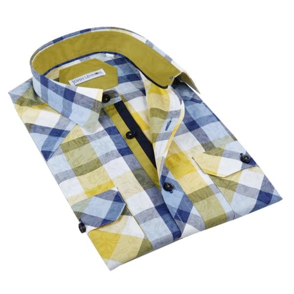 John lennon men 39 s yellow and blue plaid sport shirt free for Blue and yellow dress shirt